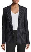 DKNY Striped Wool-Blend Jacket, Black