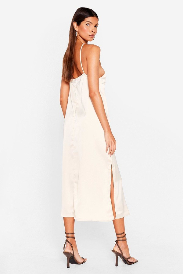 Thumbnail for your product : Nasty Gal Womens Satin Strappy Halter Midi Dress - Tan - 4