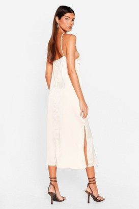 Nasty Gal Womens Satin Strappy Halter Midi Dress - Tan - 8