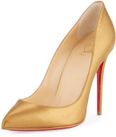 Christian Louboutin Pigalle Follies Leather 100mm Red Sole Pump, Gold