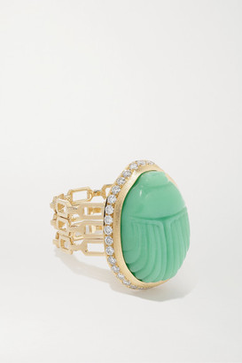 Lito Big Agata 14-karat Gold, Chrysoprase And Diamond Ring