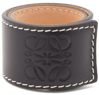 Loewe Anagram-logo Leather Snap Bracelet - Black