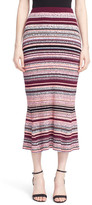 Tanya Taylor Stripe Ribbed Midi Skirt