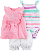 Carter's 3-Pc. Embroidered Top, Striped Bodysuit & Bubble Shorts Set, Baby Girls (0-24 Months)