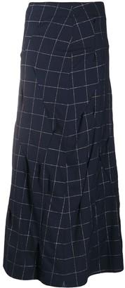 Sulvam Grid-Print Crinkled Skirt
