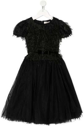 MonnaLisa Sparkle Feather Dress With Tutu Skirt