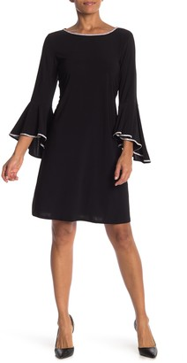 MSK Bell Sleeve Rhinestone Trim Dress
