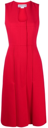 Victoria Beckham Sculpted Neckline Pleated Midi Dress