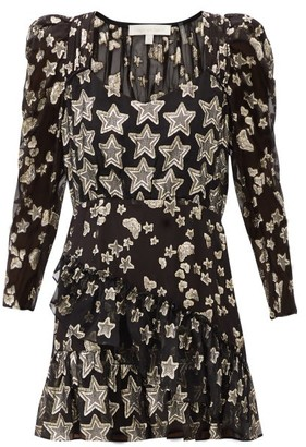 LoveShackFancy Caden Metallic-star Silk-blend Crepe Mini Dress - Black Print