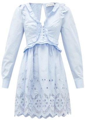 Self-Portrait Ruffled V-neck Broderie-anglaise Cotton Mini Dress - Light Blue