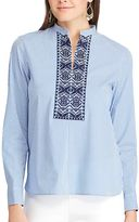 Chaps Petite Striped Embroidered Shirt
