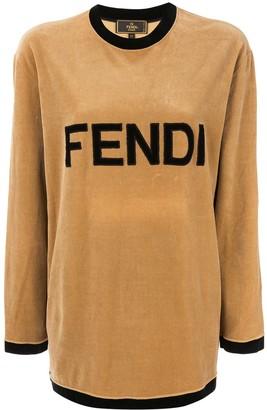 Fendi Pre-Owned Logo Print Velvet Top