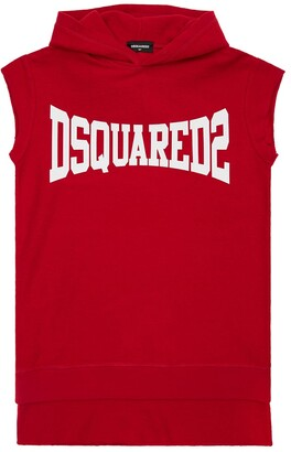 DSQUARED2 Logo Print Hooded Cotton Sweat Dress
