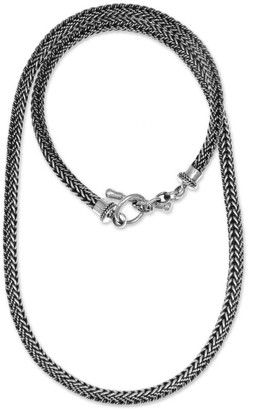 Novica Handmade Sterling Silver Chain Necklace, 'Skin and Snake'