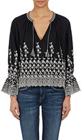 Ulla Johnson Women's Embroidered Sonya Blouse-BLACK
