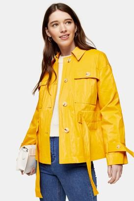Topshop PETITE Marigold Crinkle Crop Belted Shirt