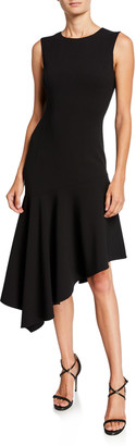 Michael Kors Crewneck Crepe Asymmetric Dress