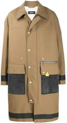 Diesel Denim-Panel Twill Coat