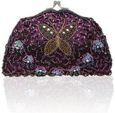 KAXIDY Clutches Purse Antique Butterfly Seed Bead Purse Clutch Evening Bag Handbag
