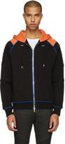 Balmain Black and Orange Panelled Hoodie