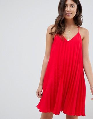 Asos Design DESIGN pleated swing cami mini dress