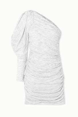 Redemption One-sleeve Ruched Glittered Zebra-print Silk-blend Mini Dress - White