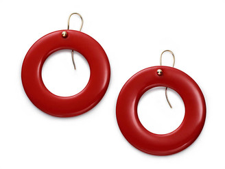 Tiffany & Co. Elsa Peretti Sevillana earrings in red lacquer, large