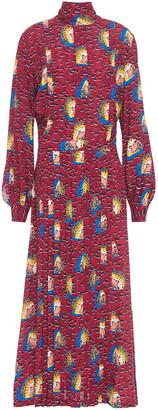 Stella Jean Pleated Printed Crepe Maxi Dress