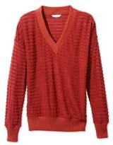 L.L. Bean Signature Sheer-Stripe V-Neck Shirt