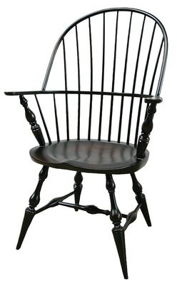 Rosalind Wheeler Ayden Solid Wood Windsor Back Arm Chair Color: Distressed Brown