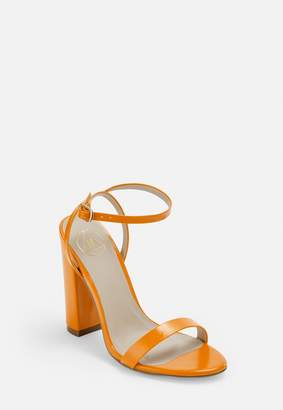 Missguided Orange Block Heeled Sandals