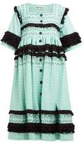 Molly Goddard Macy Ruffled Gingham-cotton Midi Dress - Womens - Green
