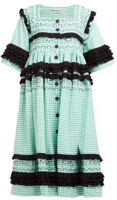 Molly Goddard Macy Ruffled Gingham-cotton Midi Dress - Womens - Green