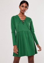 Missguided Green Lace Up Front Smock Dress