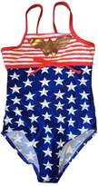 In Gear offered by LC Boutique In Gear Girls Wonder Woman Sport One Piece Swimsuit Stars and Stripes in sizes 4-8.