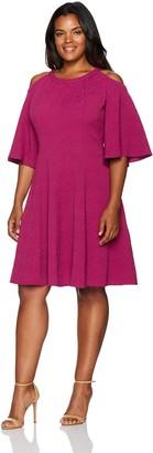 Gabby Skye Women's Plus Size Cold Shoulder Elbow Sleeve Knit Fit & Flare Dress