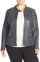 Sejour Plus Size Women's Channel Stitch Leather Moto Jacket