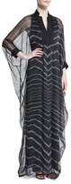 Halston 3/4-Sleeve Striped Caftan Gown, Black