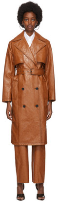 MSGM Tan Faux-Leather Trench Coat