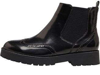 Fluid Womens Brogue Chelsea Boots Black