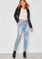 Missy Empire Macy Denim Tartan Patch Straight Jeans
