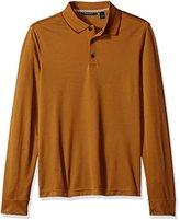 Perry Ellis Men's Three-Button Long-Sleeve Jacquard Polo Shirt