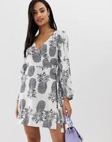Liquorish mini wrap dress in pineapple print