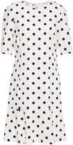 Oscar de la Renta Fluted Polka-dot Wool-blend Crepe Mini Dress