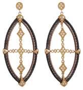 Alor 18K Yellow Gold, Stainless Steel, Black & Bronze PVD Diamond Cross Drop Earrings - 0.44 ctw