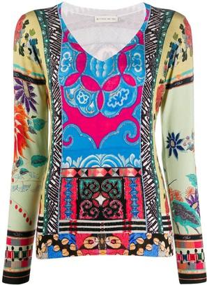 Etro Silk Patchwork Long Sleeve Top