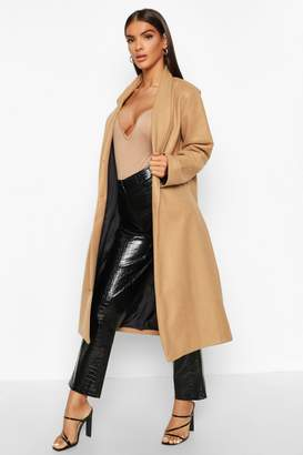boohoo Shawl Collar Button Wool Look Coat