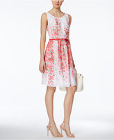 Connected Belted Floral-Print A-Line Dress