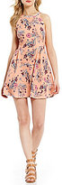 Copper Key Floral Print A-Line Dress