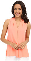 Vince Camuto Sleeveless V Blouse w/ Inverted Front Pleat